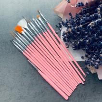Набор кистей 15 шт (розовая ручка)