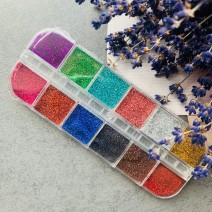 Набор голографических блесток в боксе 12 цветов