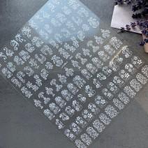 Наклейки 3 D белые на весь ноготь (большой лист)