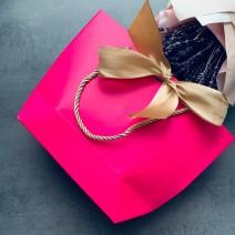 """Подарочный пакет """"Сумочка"""" розовый (27 см)"""