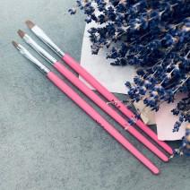 Набор кистей 3 шт прямые (розовая ручка)