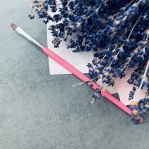 Кисть для геля прямая № 6 (розовая ручка)