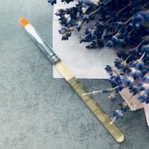 Кисть для геля закругленная с прозрачно-золотой ручкой, №6