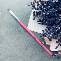 Кисть для геля прямая № 8 (розовая ручка)