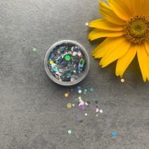 Конфетти серебряные голографические разного размера