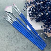 Набор кистей 7 шт (фиолетовая ручка)