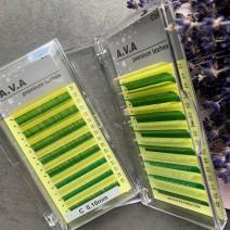Ресницы A.V.A цветные Миксы на ленте, изгиб C, толщина 0.10 (зеленый и желтый)