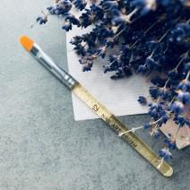 Кисть для геля закругленная с прозрачно-золотой ручкой, №12