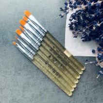 Набор кистей 7 шт с прозрачно-золотой ручкой
