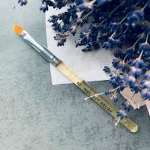 Кисть для геля закругленная с прозрачно-золотой ручкой, №8