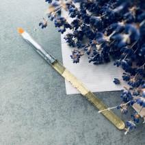 Кисть для геля закругленная с прозрачно-золотой ручкой, №2