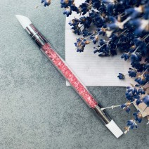 Кисть силиконовая двухсторонняя розовая