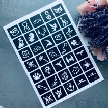 Трафареты (лист из 35 шт) для тату №17