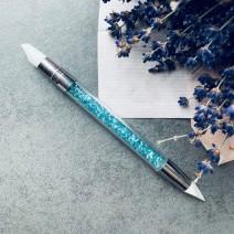 Кисть силиконовая двухсторонняя голубая
