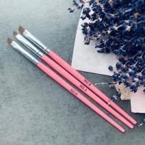 Набор кистей 3 шт скошенные (розовая ручка)