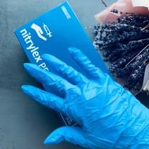 Перчатки нитриловые голубые 50 штук (25пар) размер M, Nitrylex